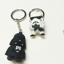 STAR WARS THE FORCE AWAKENS Cartoon creative promotion gift 3 d The black white knight Key chain Hang a doll's key ring(China)