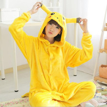 Free ship Christmas Japan Adult Pokemon Pikachu Kigurumis Cosplay Footed One Piece Pajamas Onesie Costume Fleece Clothing XL(China)