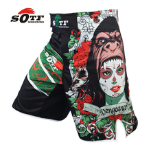 Orangutan with beautiful pictures breathable fabric sports training boxing shorts mma thai boxing muay thai boxing mma fight(China)