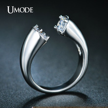 UMODE High Polish ByPass Rings Cubic Zirconia Summer Style Simple Design Rhodium Color Bijoux Women Jewelry UR0220B