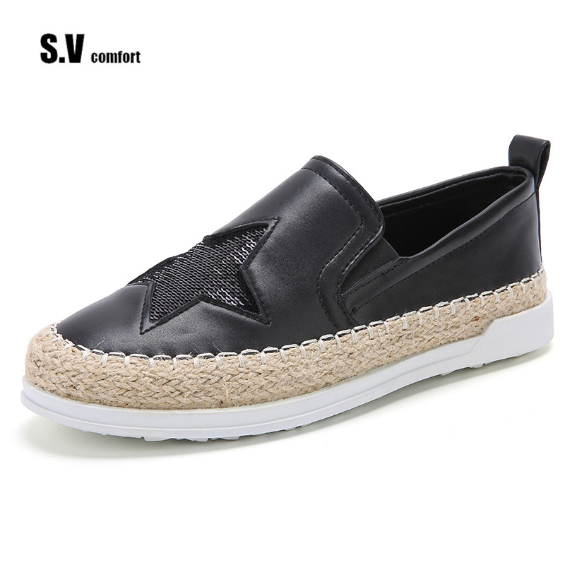 Loafers 2017 Summer Slip On Flats Fisherman Shoes Woman Casual Spring Women Flat Shoes Star Bling<br>