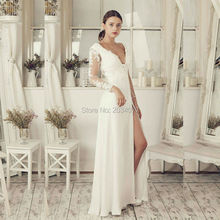 Off White Simple Long Sleeve Wedding Dress Lace Chiffon Floor Length Bridal Gown Bride Dresses China Backless Elegant Brautkleid