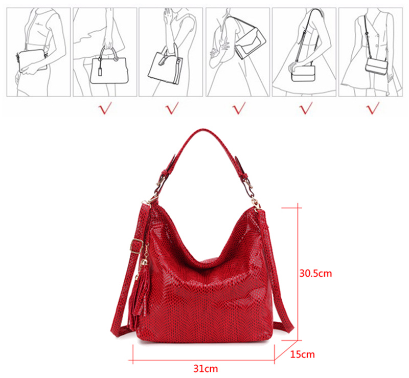 Women Snake Leather Shoulder Bag Female Serpentine Pattern Hobos Bags Tassel Big Handbag Luxury Designer Ladies Tote SS0309 (11)