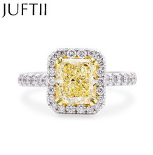Luxury White Gold Plated Pincushion Princess Topaz Fancy Yellow cz Diamond Ring Rectangle Emerald Cut CZ Zircon Engagement Rings