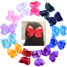 2pcs Grosgrain Ribbon 6'' Large Boutique Hair Bows Alligator Hair Clips For Princess Girls 6 Inch Big Bowknots Hair Accessories(China)