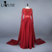 Real Photo Chiffon A-line Sheer Neck Dubai Kaftan Red Evening Dress Long Sleeve Saree Prom Dresses Floor Length Long Party Dress