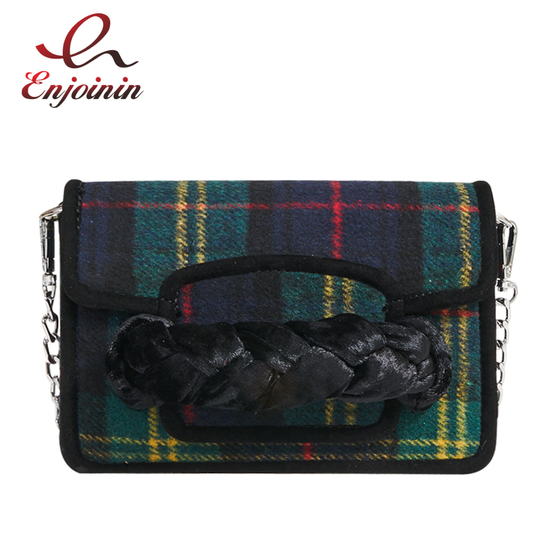 New design vintage fashion plaid stripes woven chain womens handbag shoulder bag chain purse ladies crossbody messenger bag <br>