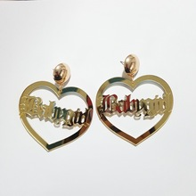 Women Large Big Heart Baby girl Earrings Basketball Wives Earrings Statement Poparazzi Punk Hip Hop Gold Stud Earrings Brincos(China)