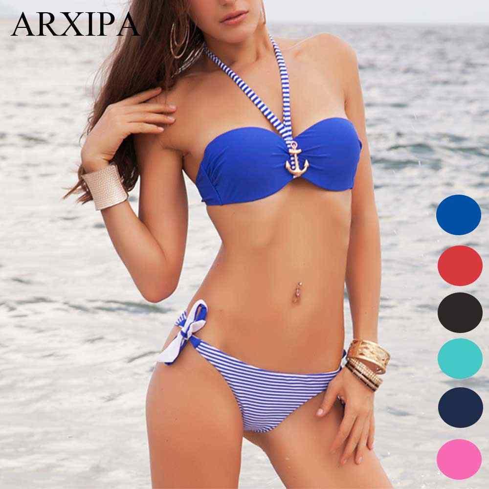 90104f7dd88e3 Sexy Bikini Set Striped Push Up Separate Swimsuit Women Anchor Underwire Swimwear  Halter Tie Bathing Suit
