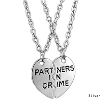 Fashion Friendship Jewelry Silver plate Pendant couple Necklace For Best Friend half and a half gifts 'partners in crime' cool(China)