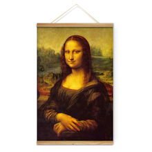 Da Vinci Mona Lisa Smile Decoration Wall Art Pictures Canvas Wooden Scroll Paintings For Living Room Home Decor Ready To Hang(China)
