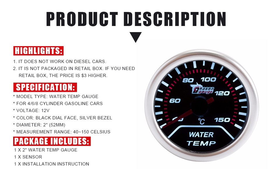White Dial Face, Black Bezel Fahrenheit Water Temperature Oil Pressure with Sensor SINOVCLE Triple Gauge Kit 2 Voltage