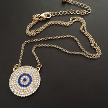New Style Hip Hop Crystal CZ Iced Out Turkey Blue Evil Eyes Pendant Bling Bling Jewelry Round Pendant Necklaces