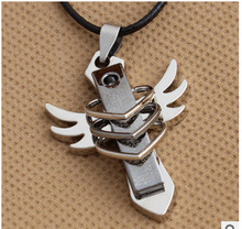 Stainless steel angel wings pendant necklace men and women in Europe and America big high-end jewelry wholesale  free shipping