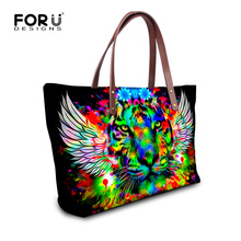 Cool Shoulder Bag for Women Printing Tiger Leopard Head Top Handle Bags Casual Lady Girls Travel Tote Bag High Quality