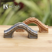 Vintage home statues micro garden miniature decor figurine Chinese antique Arch bridge bulding model Figure Toys DIY sculptures