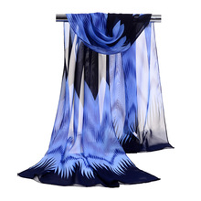 Cheap Long Wholesale Zigzag Chiffon Silk Scarf Soft Salomon Traditional Luxury Brand Scarf Thanksgiving day Gift Shawl