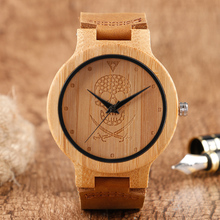 Men's Creative Watches Wood Bamboo Skull Gothic Style Quartz Watch Brown Genuine Leather Wristwatches Women Clock Gift Online(China)