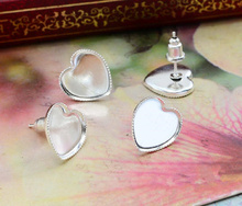 12mm 20pcs Silver Plated Heart Earring Studs,Earrings Blank/Base,Fit 12mm Glass Cabochons,Buttons;Earring Bezels (L4-12)