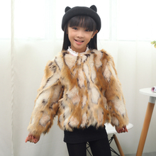 Fashion children's clothing child leather hare wool cape overcoat outerwear autumn and winter faux thermal jacket(China)