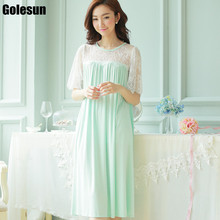 The new 2017 Women's Modal Home Sleeping princess dress bud silk night gown.Women's nightgowns. sleep lounge.(China)