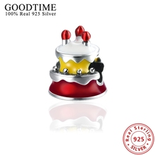 Cute Red Yellow Enamel Cake Pendant Charms Fits For European Pandora Bracelets Necklaces Sterling Silver 925 Jewelry Gift GTP117