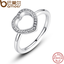 BAMOER 925 Sterling Silver Heart Be My Valentine Ring with Clear CZ Original 2017 New Collection Fine Jewelry PA7146