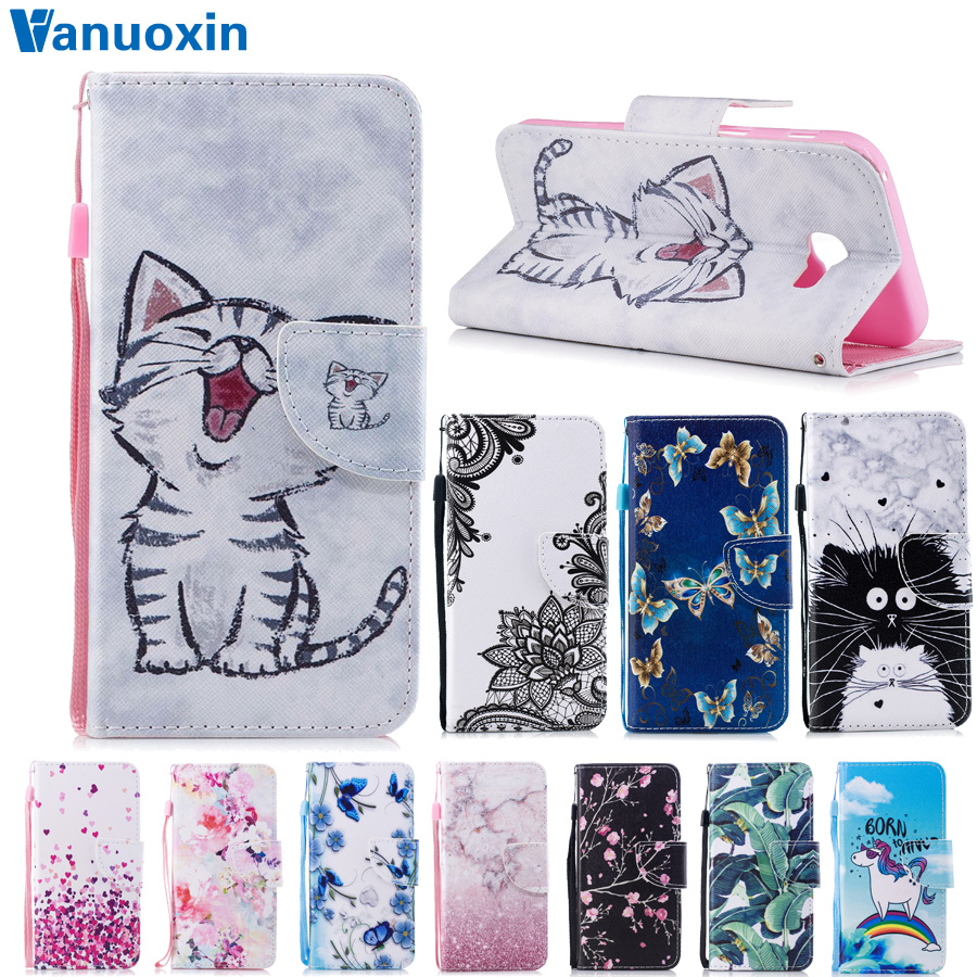 Leather Case For Fundas Samsung Galaxy J4 2018 Case For Coque Samsung J4 Plus J415 J415F Capa cat Flip Wallet Cover Phone Bags(China)