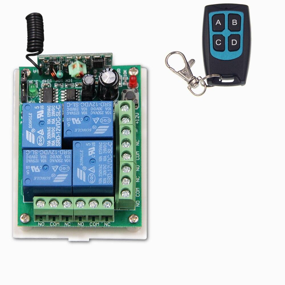 DC 12V 24V 4 CH 4CH RF Wireless Remote Control Switch System, Waterproof Transmitter + Receiver,315/433MHZ<br><br>Aliexpress