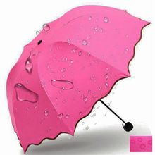 2017 New Sunny and Rainy Umbrellas For Women Waterproof Lady Princess Magic Flowers Red Umbrellas Three-folding Stretch Parasol(China)