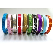 Wholesale 50pcs Mixed Style 8mm slide charms Stone PU Leather Stone Wristband mix color 8mm wide 210mm length