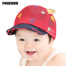 2016 New Arrival Baby Hat with Ears Stars Candy Embrodiery Kids Baseball Hat Summer Boy Sun Hats Cotton Mesh Caps Girls Visors