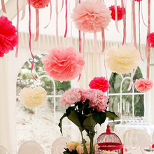5PCS Handmade 6''(15CM) Tissue Paper Pom Poms Paper Flower Ball Pompom For Home Garden Wedding Birthday&Wedding Car Decoration(China)