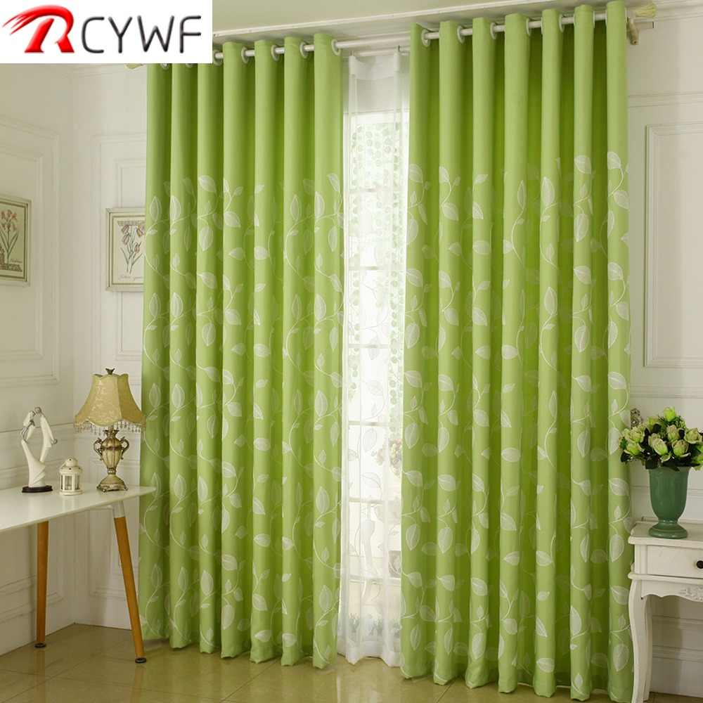 Cotton Embroidered Curtains Light Blue White Leaves Window Curtains Sheer Curtains Drapes Rideaux Living Room Cortina