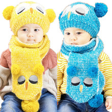 Fashion 2 piece/ set Hat Scarf Owl Pattern Children Winter Cap for Boys Girls Knit Skullies & Beanies Bonnet Baby Warm Hats