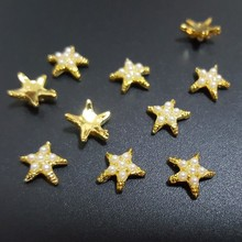 Fashion Japanese nail jewelry decoration 50pcs alloy starfish with pearls nail art charm gold nail metal glitter accessories