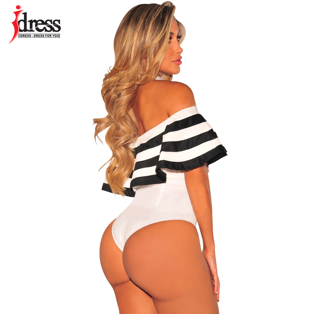 IDress Black and White Striped Bodysuit Women 2017 Summer Ruffles Strapless Off Shoulder Romper Backless Bodycon Women Jumpsuit (9)