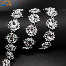 Gold/Silver Single Row Plastic Sunflowers Line Beads Chain for Home Wedding Party Clothing Decoration Accessory DIY Material