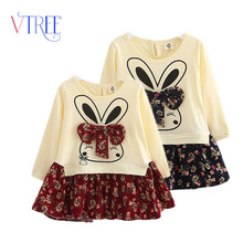 2016 spring long sleeve dress for girls cartoon rabbit dress fancy dress for children designer kids girls clothing baby dress