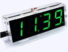 4-digit LED Electronic Desk Clock DIY Kit Light Control Date Time Display