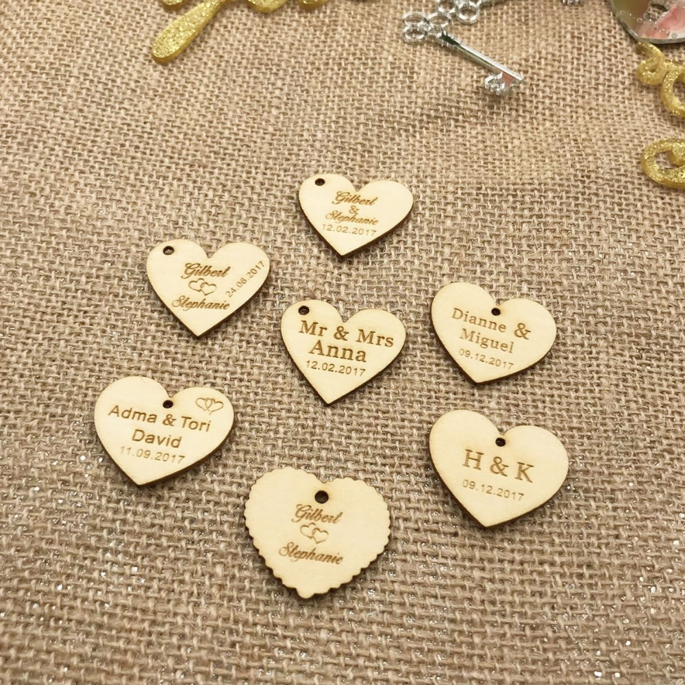 Personalized custom Engraved wedding name and date Love Heart wooden Wedding Gift Table Decoration Favors Customized Candy Tags3