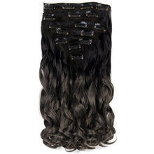 "Neverland Women 20"" 7pcs/set Heat Resistant Synthetic Hair Extension Set Wavy Ombre Dark Grey Hair Pieces Clip in Hair(China)"