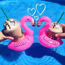 2017 New 5Pcs/Lot Mini Cute Pink Flamingo Floating Inflatable Drink Can Holder Pool Bath Toy Pool Swim Ring Water Fun Pool Toys(China)