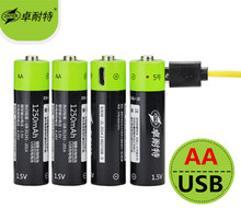 New technology! 4pcs ZNTER 1.5V AA 1250mAh li-polymer li-po rechargeable lithium li-ion battery with USB cable pack(China)
