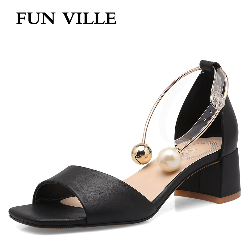 FUN VILLE 2017 Genuine leather Women Sandals Summer Shoes Women Open Toe Chunky High Heels Party Dress Sandals Big Size 34-43<br>