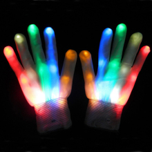 1 Pair Magic LED Lighting Glove Rainbow Flash LED Glow Stick Gloves White Skeleton Gloves for Halloween Party Concert stage 45(China)