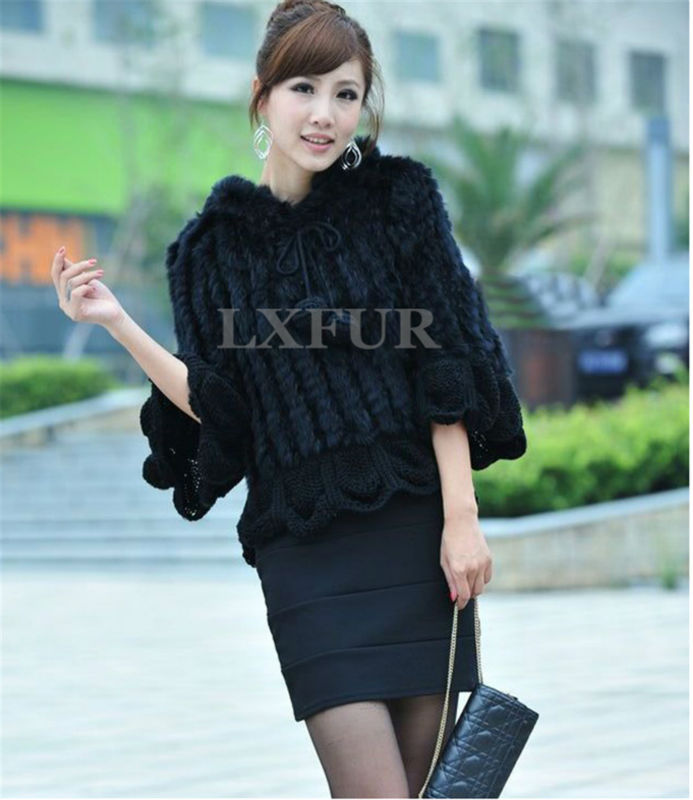 LX00077 Real Knitted Rabbit Fur Shawl Womens Casual Poncho Knitted Fur Pashimina with Falbala Trimming Black & Grey Available(China (Mainland))
