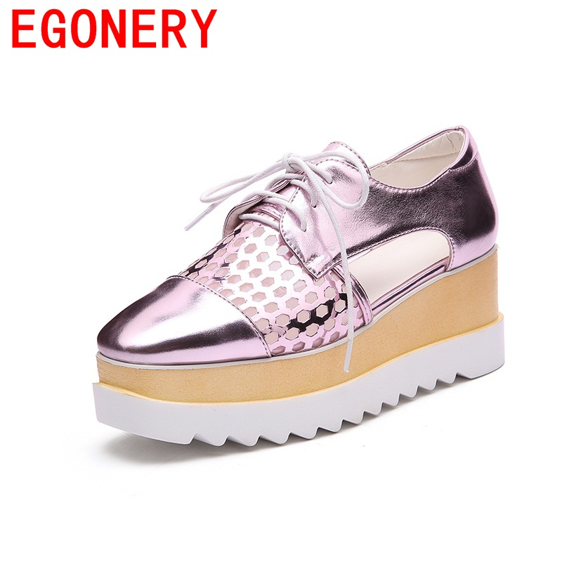 EGONERY new manual breathable platform lace-up hollow out woman shoes campus high heels square toe footwear single shoes<br>