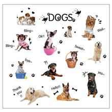 New Qualified Dropship PUPPIES Dog Pet Shop Wall Sticker Art Lovely Cute Animals For Kids Baby Room OC26(China)