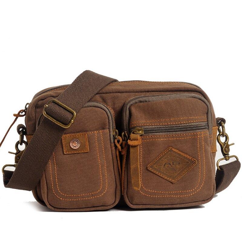 2017 Canvas Leather Mens shoulder Bags Multifunction Zipper Packet Travel School Crossbody Sling Mens Bag<br><br>Aliexpress